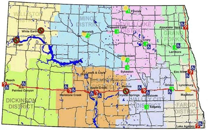 north dakota rest area map