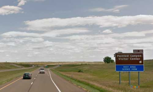 nd interstate 94 north dakota i94 painted canyon rest area mile marker 32 eastbound off ramp exit